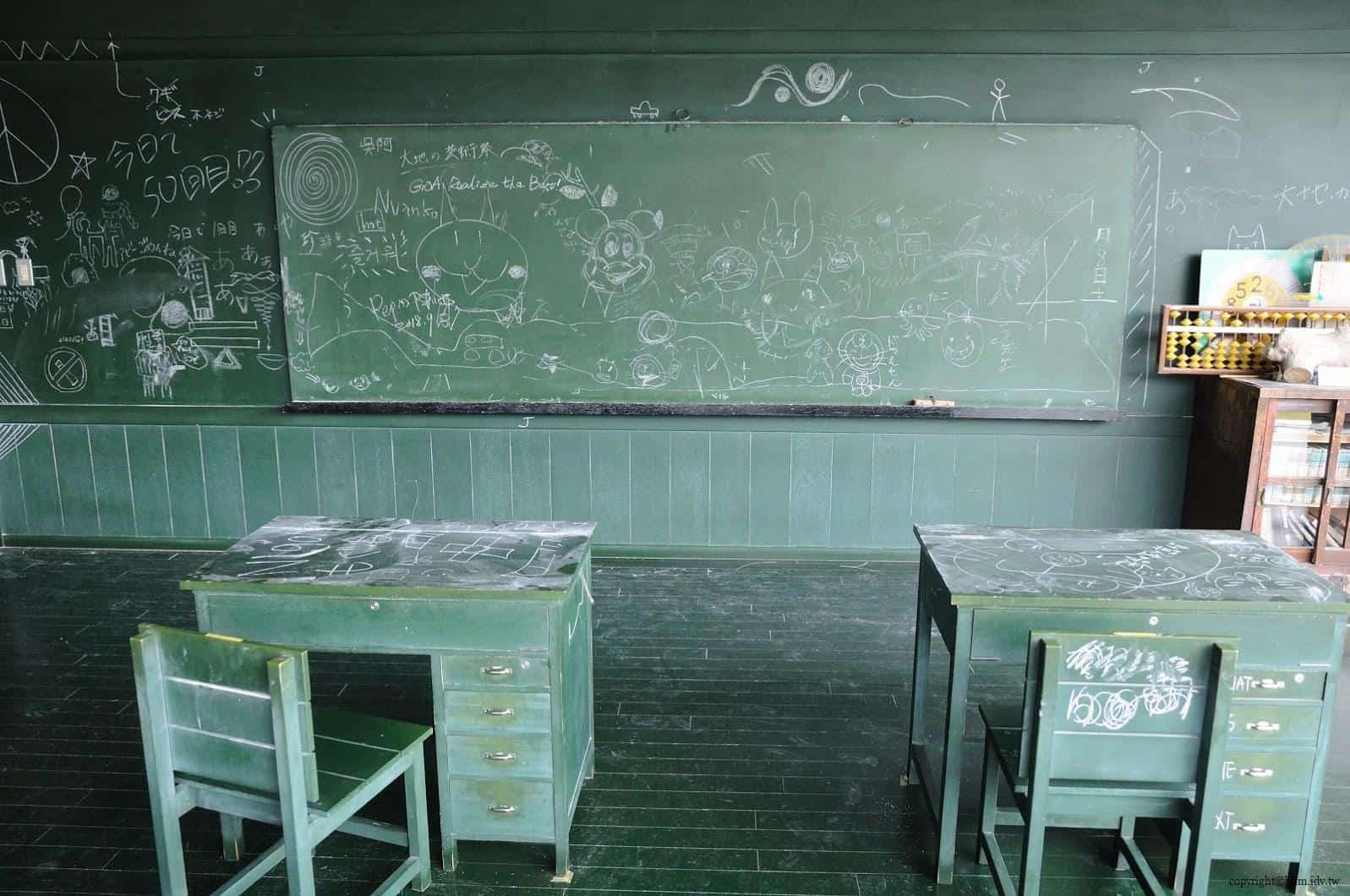 MVRDV,松代雪國農耕文化村[農舞臺],関係-黒板の教室」(教育空間),「如果教室內全都是黑板?那該有多好」於是,作者創作出此作品,無論所見之處牆壁、地板、地圖、地球儀等,所有物品都可以使用粉筆寫字畫圖 松代雪國農耕文化村[農舞臺] 松代雪國農耕文化村[農舞臺] no butai snow land agrarian culture center matsudai 13
