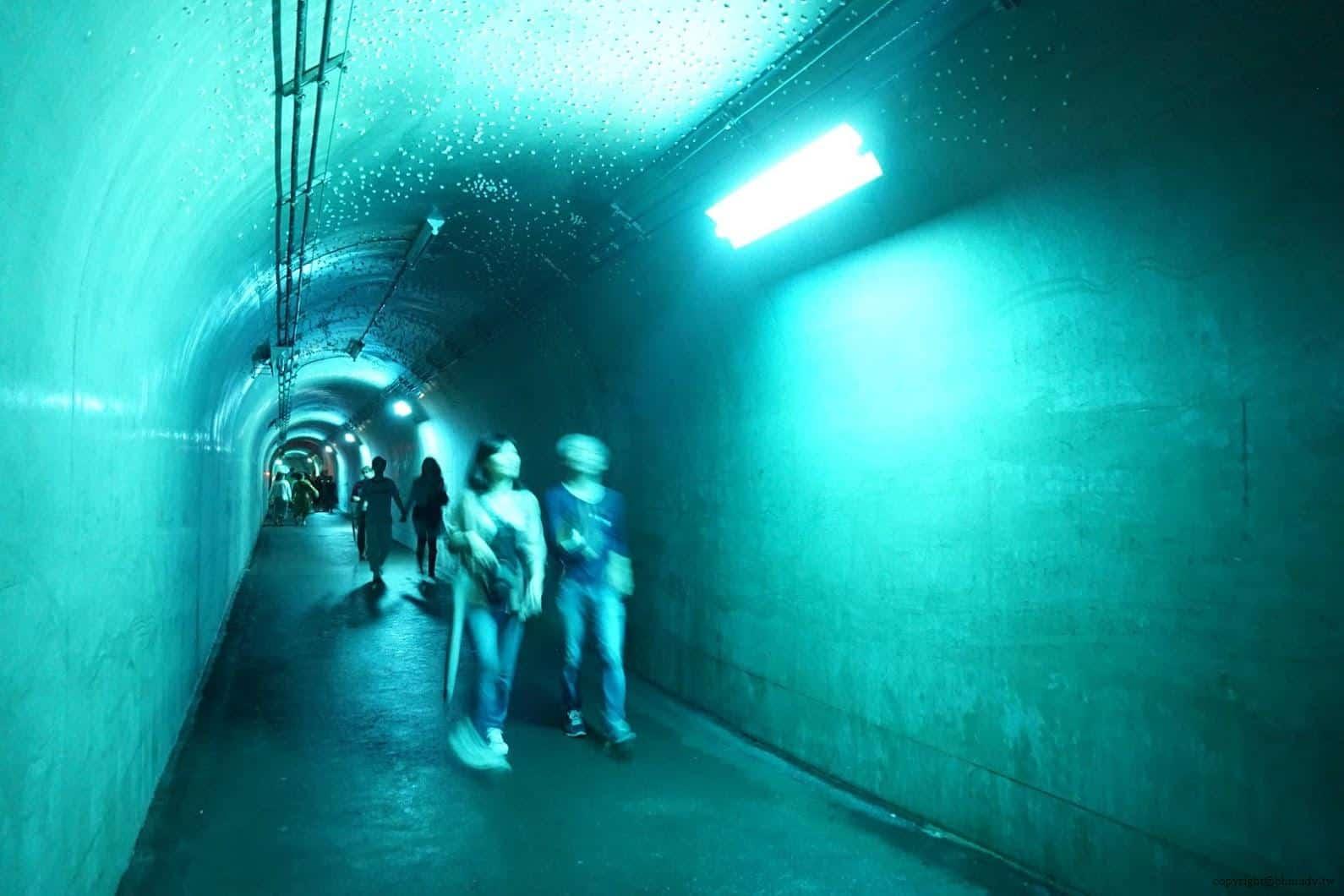 馬岩松,光洞,色—土(隧道),途中每段隧道中呈現不同色彩昏暗燈光,陪襯玄妙音樂,變得未知與神秘 越後妻有 光洞 periscopelight cave 03