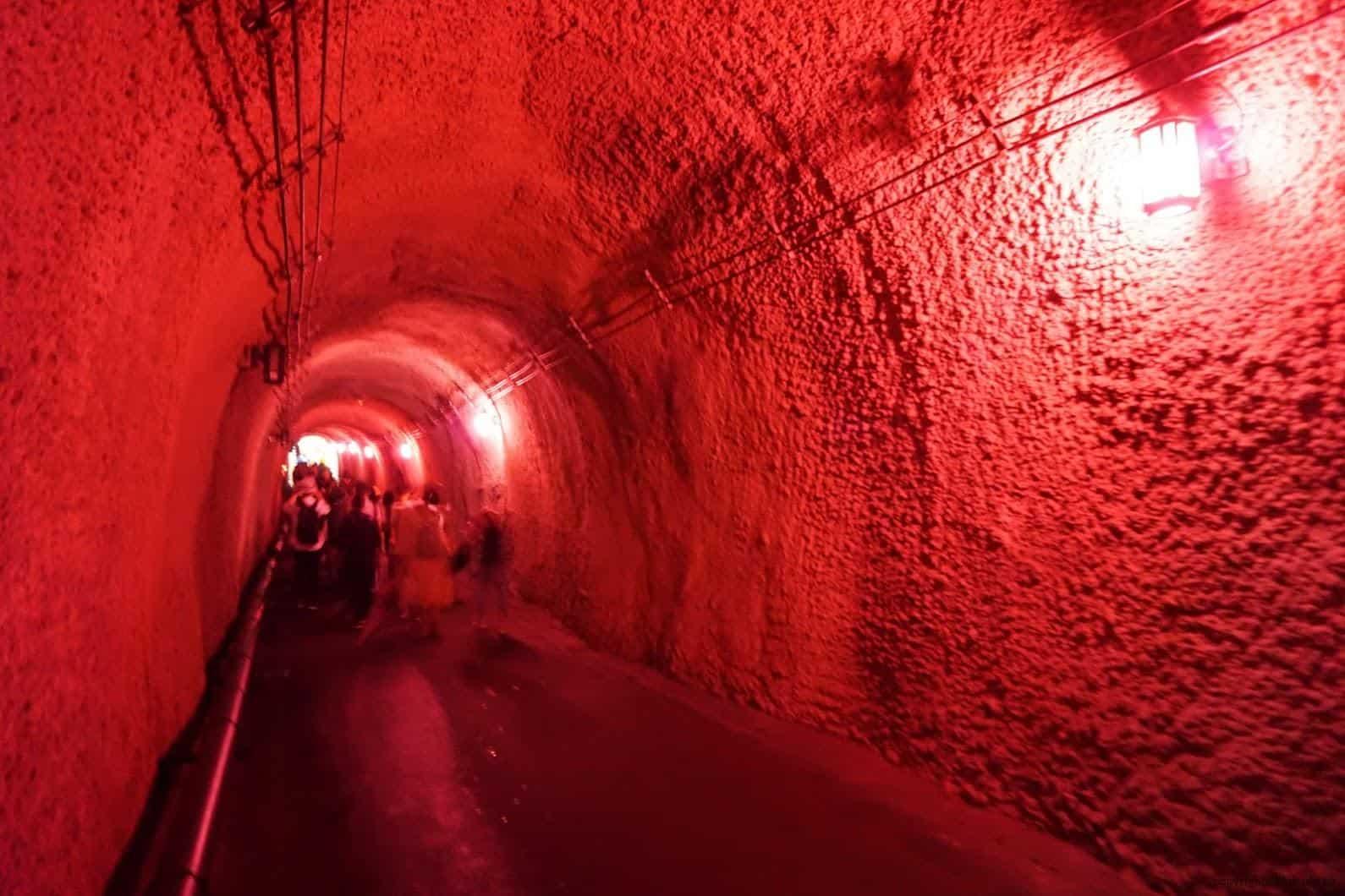 馬岩松,光洞,色—土(隧道),途中每段隧道中呈現不同色彩昏暗燈光,陪襯玄妙音樂,變得未知與神秘 越後妻有 光洞 periscopelight cave 04