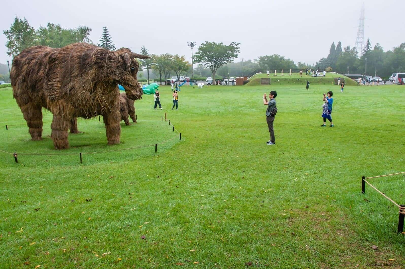 Yuma Matsumoto + Wara Art JAPAN,Mishimaushi@里山藝術動物園。整個公園中少數大件作品之一 里山藝術動物園 里山藝術動物園 satoyama art zoo 04