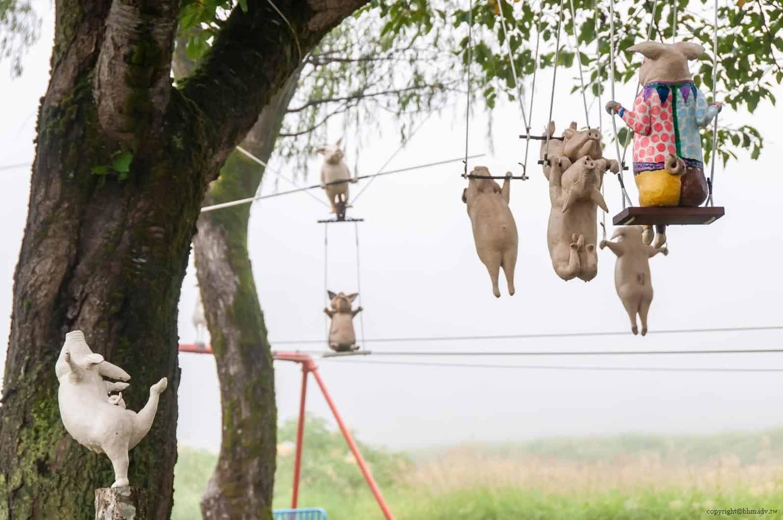 岡山富男,馬戲團@里山藝術動物園,每隻豬的動作與表情各有其風景 里山藝術動物園 里山藝術動物園 satoyama art zoo07