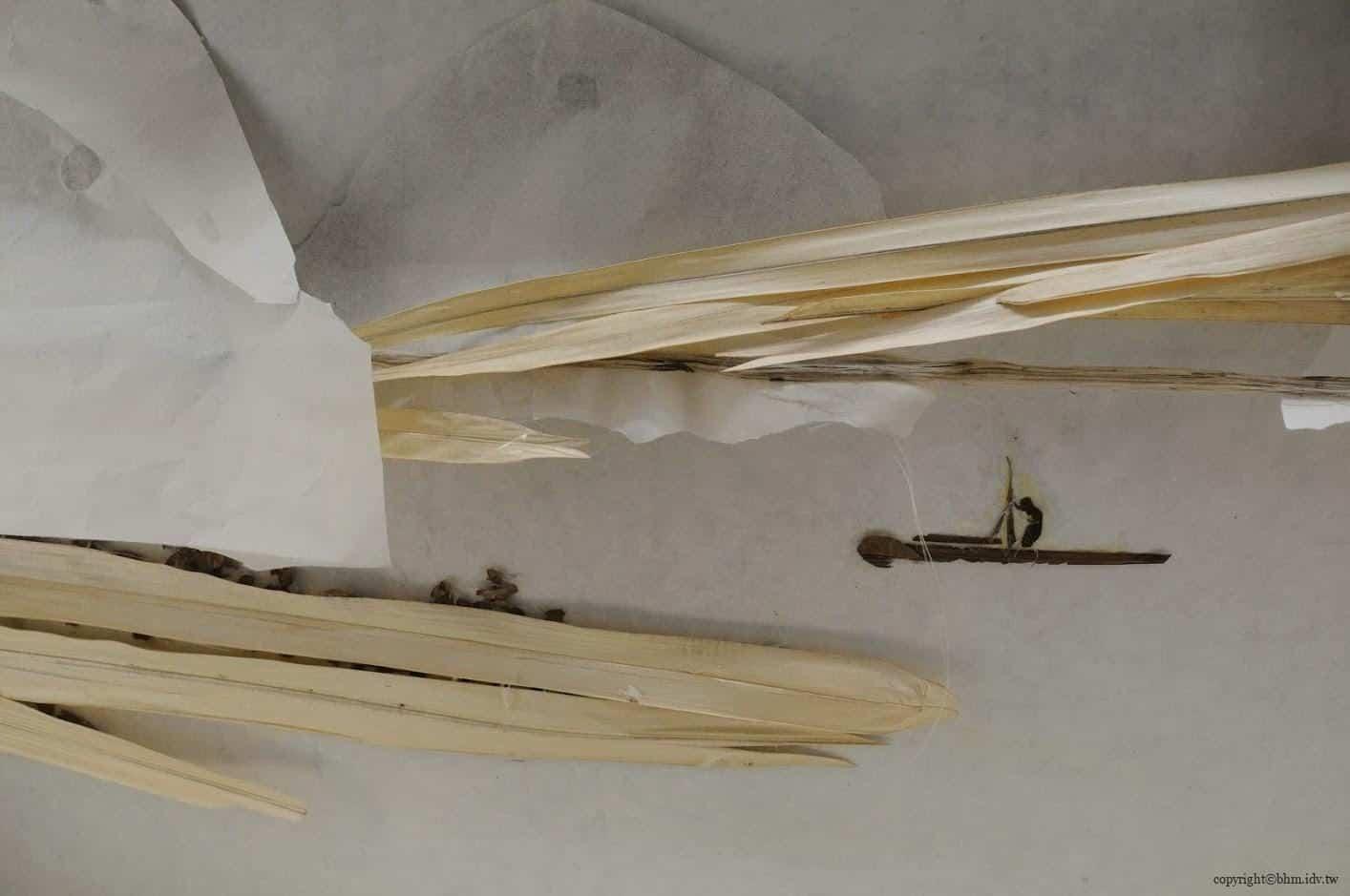 徐冰,背後的故事,由作品背面看時,會發現這不是水墨畫,而是由生活中隨手可得的物件(報紙、樹枝、粗紙、葉片等),黏貼於作品後面再透過燈光投射於前面,故若無燈光時完全看不到任何描繪 背後的故事 背後的故事 story of the back side 05 0x0